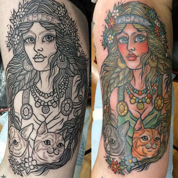 Here's my gorgeous tattoo of Freyja by Hanna. (Photo courtesy Kezia Willingham)