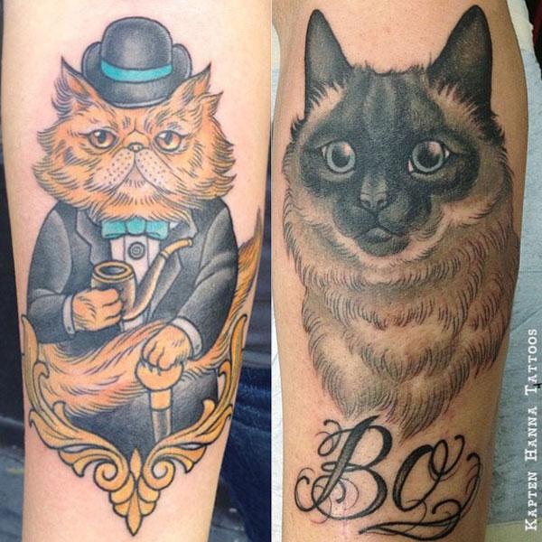 Cat-themed tattoos by Hanna Sandstrom, aka Kapten Hanna. (Photo courtesy Kapten Hanna's Instagram)