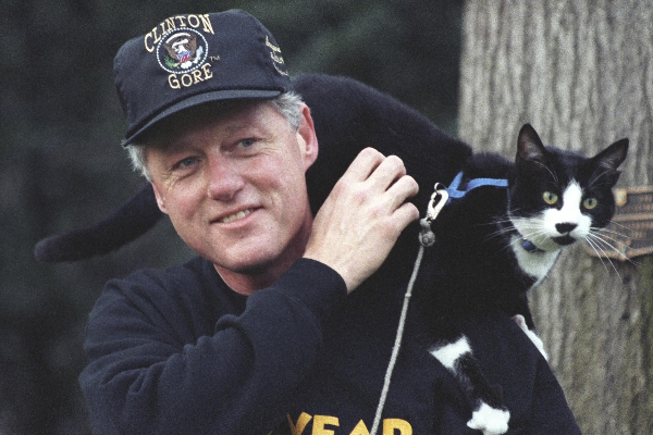 President Bill Clinton with Socks the Cat perched on his shoulder. March 7, 1995.