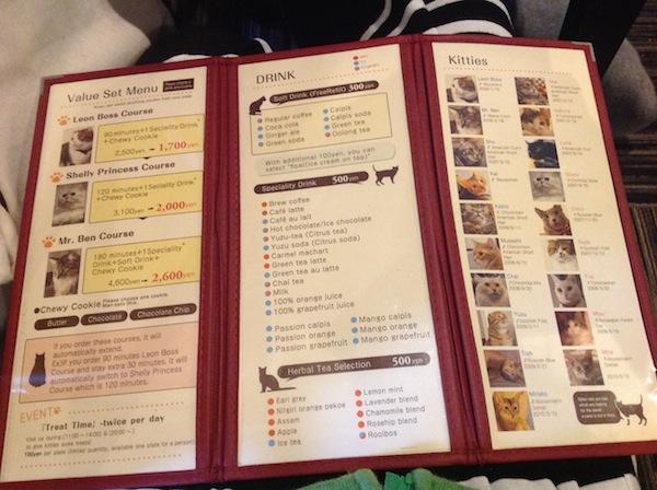 The cafe menu.