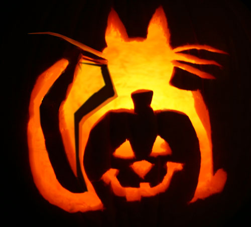 Happy halloween from the cat s meow catster for Sully pumpkin template