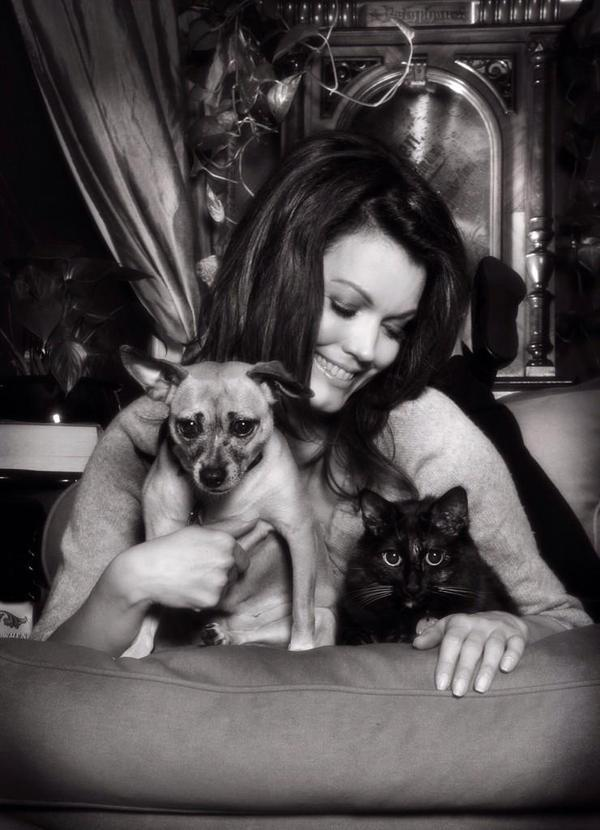 Bellamy Young with her pets, Bean and Sadie. Image courtesy Bellamy Young's Twitter page
