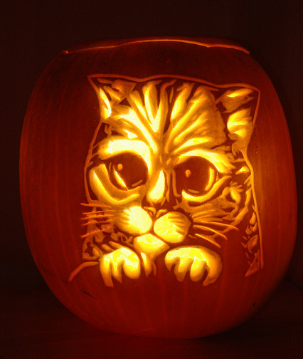 Free Pumpkin Carving Stencils Cat Face