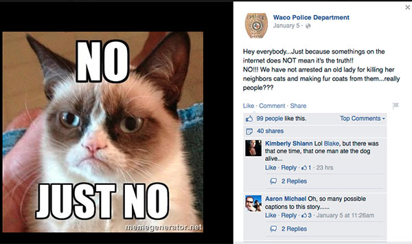Waco Can Sleep Soundly; the Catnapping Lady Is a Fake ...