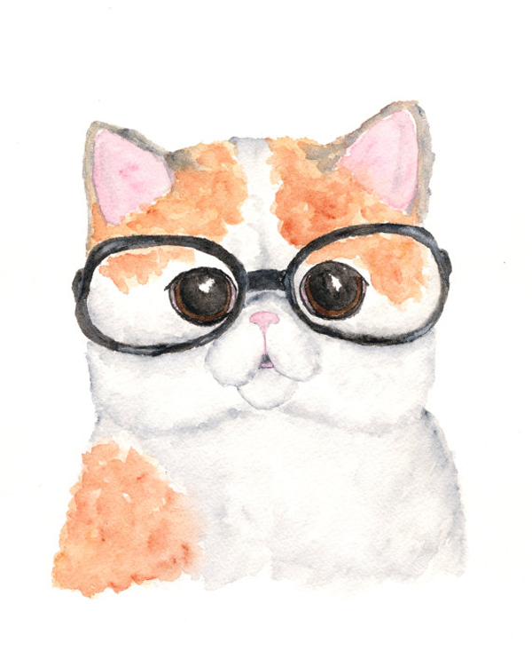 As If This Rendering Of A Moon Eyed Pink Nosed Feline Wearing Pair Glasses Werent Cute Enough It Also Appears That The Artist Was Inspired By