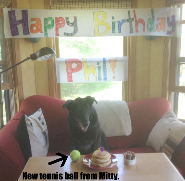 Phil's 13th birthday party came with a brand new tennis ball and stack of pancakes!