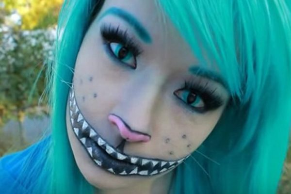 This young makeup artist offers a fun and easy option for getting your  Cheshire Cat smile on this Halloween season. In her instructional video 06f88036c0e6