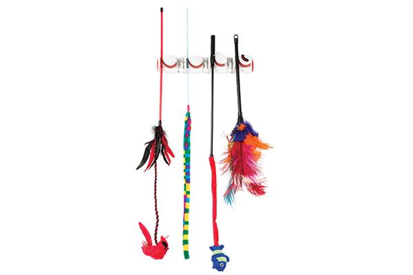 Hanging cat toys.