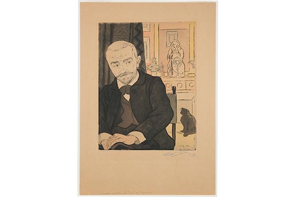Eugene Delatre, Portrait of Huysmans, From L'Estampe Originale, Album V1, 1984; Color Etching on Paper, Collection Zimmerli Art Museum at Rutgers; Museum Purchase. Photography by Peter Jacobs, courtesy DelatreZimmerli.