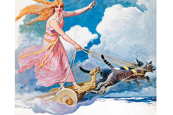 Freyja with cats.