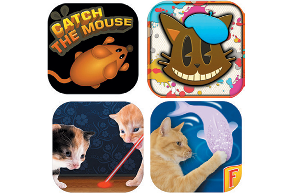 Fun apps for iPhone and/or Android include: Laser Pointer for Cat, Cat Fishing 2, Catch The Mouse Cat Game and Paint for Cats.
