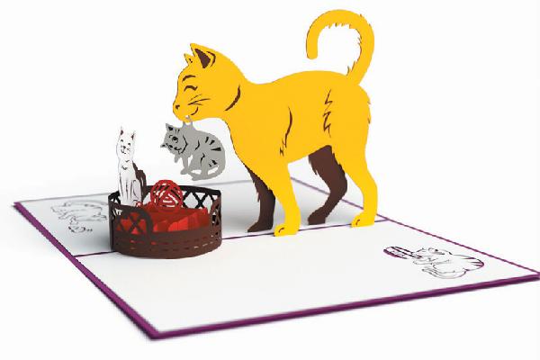 Lovepop Cat Mom 3D Card.