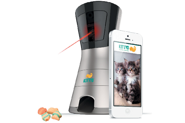 Kittyo lets you watch, talk to, play with and record your cat when you're away. It even has a laser pointer and a treat dispenser you can control from your phone! kittyo.com
