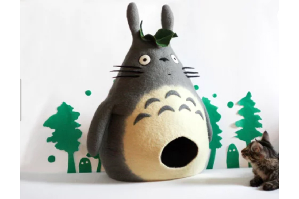 Cat house Totoro cave felted pet bed, Meow Felt ($120). https://www.etsy.com/shop/MeowFelt https://www.etsy.com/listing/573884162/cat-house-totoro-cave-felted-pet-bed?ref=shop_home_feat_3