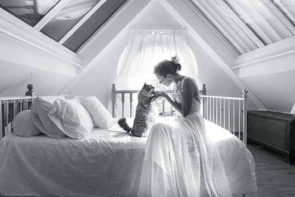 A bride with her cat.