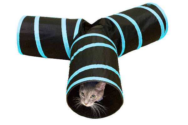 Tunnel of Fun, Collapsible 3-way Cat Tunnel Toy with Crinkle, Purrfect Feline ($11.99).