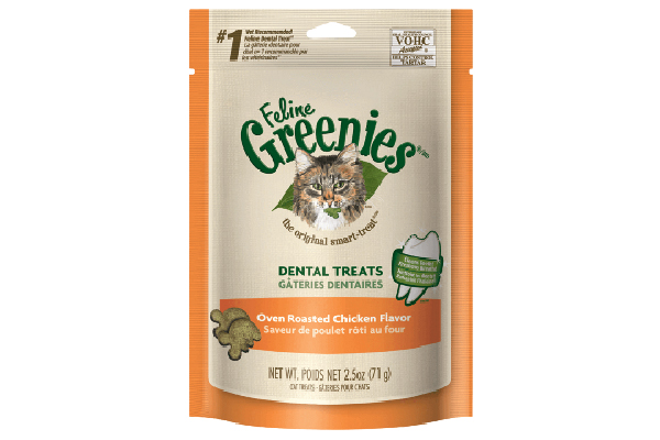 Dental Treats Oven Roasted Chicken Flavor, Feline Greenies™ (prices vary at retailers). greenies.com