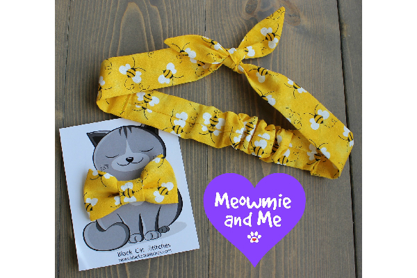 Matching Bee Print Hair Tie and Bow Tie for Cat Mom's and their Kitties, Black Cat Stitches ($18.13). etsy.com/shop/BlackCatStitches https://www.etsy.com/listing/523105547/matching-bee-print-hair-tie-and-bow-tie