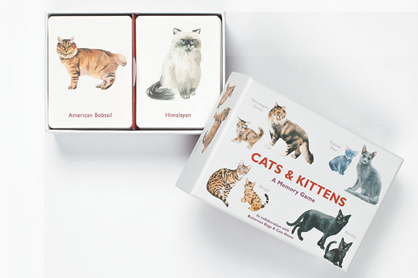 Cats and Kittens Memory Game box with cards inside by Laurence King Publishing.
