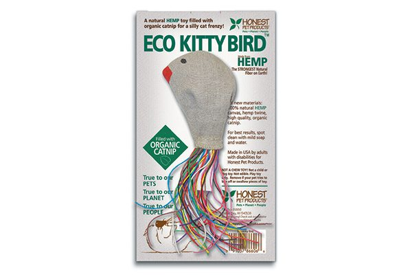 Made from natural hemp canvas and twine, the Eco Kitty Bird is filled with high-quality organic catnip and features a rattle for extra fun. honestpetproducts.com