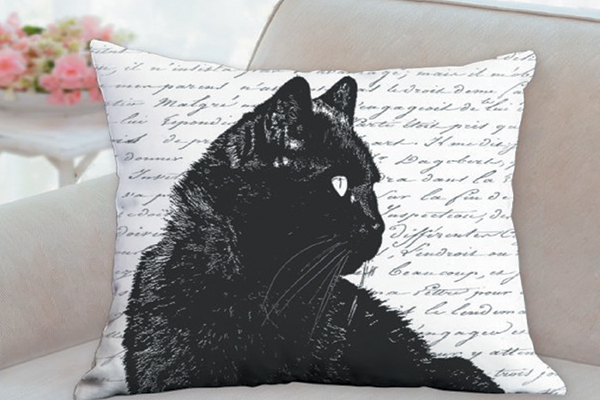 Karri's Pillows black cat pillow.