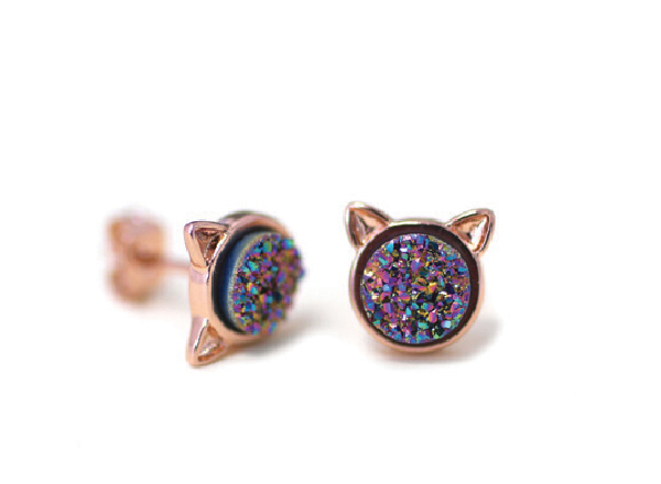 Alissa Wrenn Smith Druzy Cat Stud earrings.