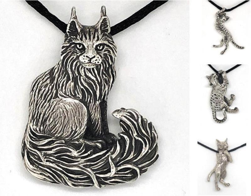 Sterling Silver Cat Pendants